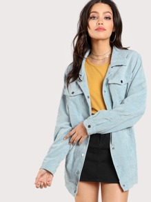Snap Button Front Cord Jacket