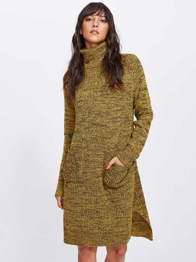 Rolled Neck Slit Side Marled Sweater Dress