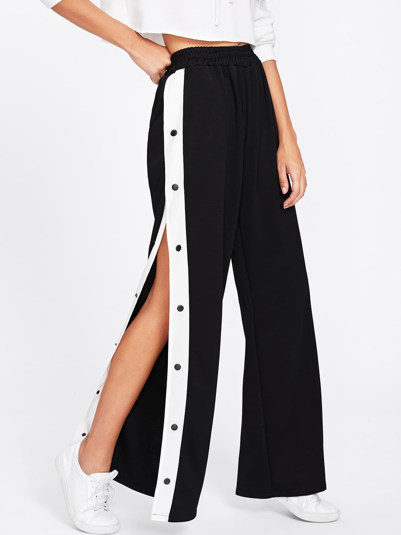 Tape Button Side Wide Leg Pants