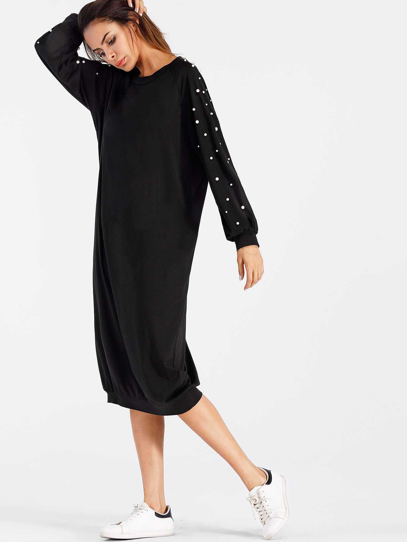 Faux Pearl Detail Sweatshirt Dress frill layered pearl detail sweatshirt dress