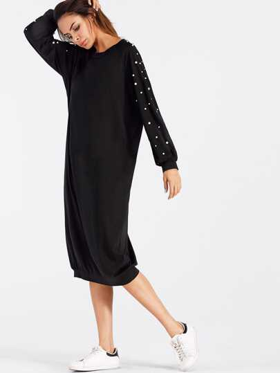 Faux Pearl Detail Sweatshirt Dress