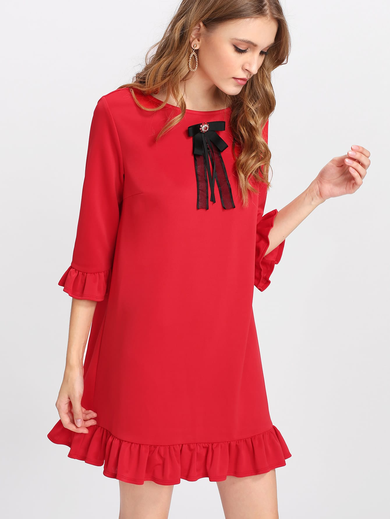 Rhinestone And Bow Embellished Ruffle Trim Dress dress171115707