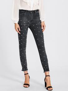 Raw Hem Faux Pearl Detail Jeans