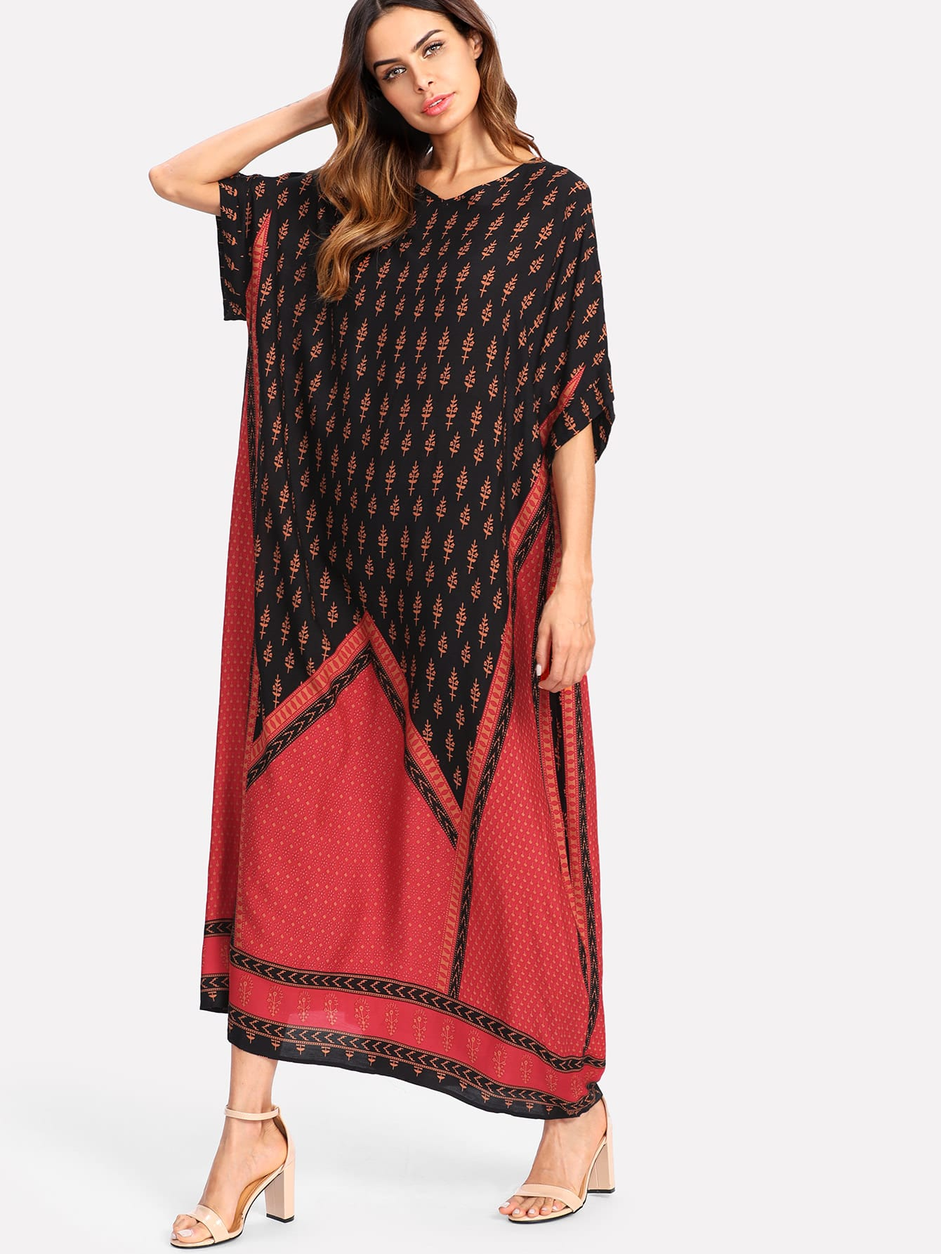 Geo Print Poncho Dress geo print tunic dress