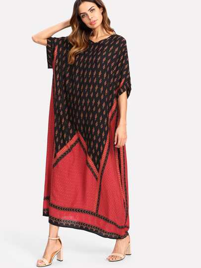 Geo Print Poncho Dress
