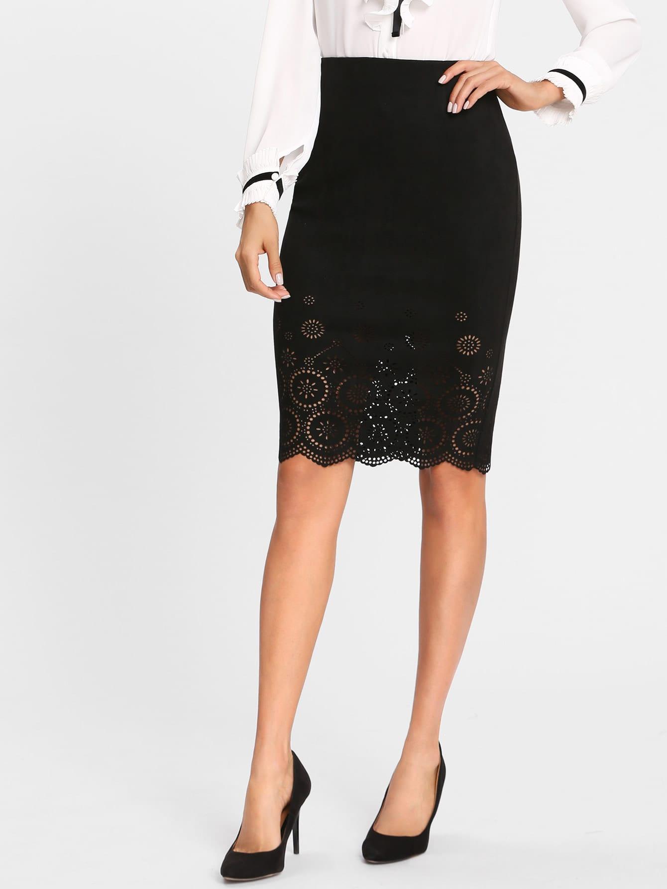 Scallop Laser Cut Vented Skirt scallop laser cut form fitting dress