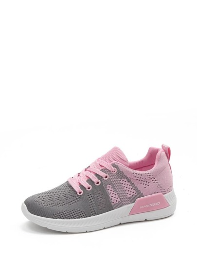 Net Vamp Lace Up Sneakers