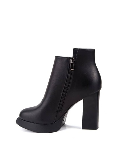 Side Zip Block Heel Boots