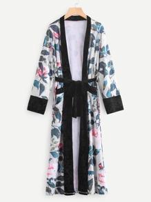 Contrast Trim Self Tie Floral Velvet Coat