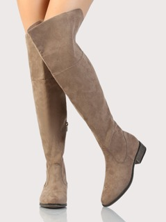 Solid Round Toe OTK Boots TAUPE