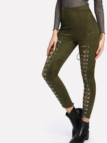 Grommet Lace Up High Waist Leggings