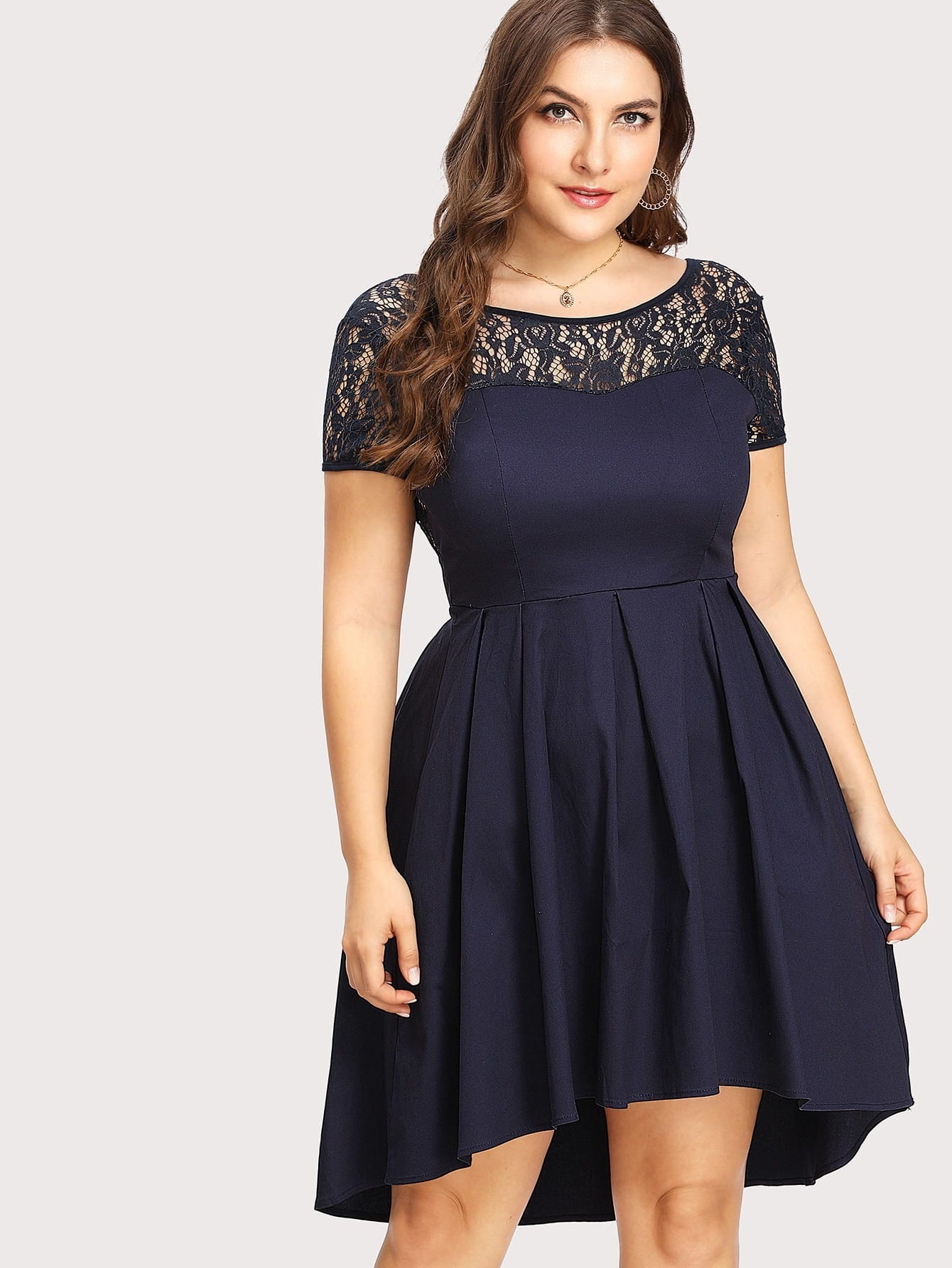 Plus Contrast Lace V Back Dip Hem Dress contrast panel dip hem dress