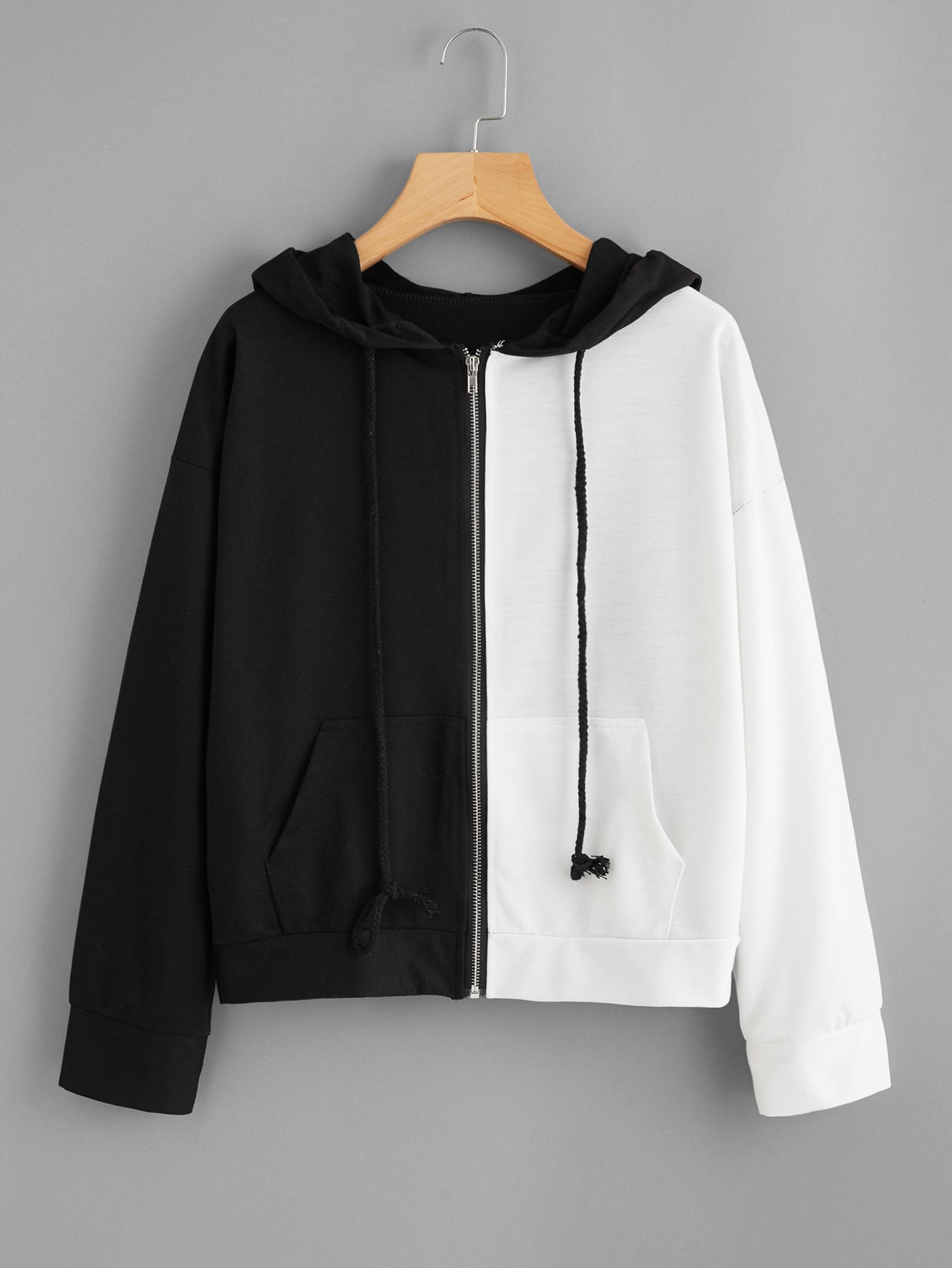 Two Tone Hooded Jacket two tone letter tape detail hooded jacket