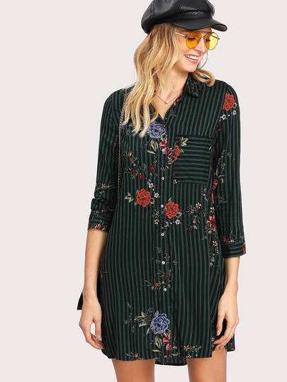Striped And Flower Print Shirt Dress