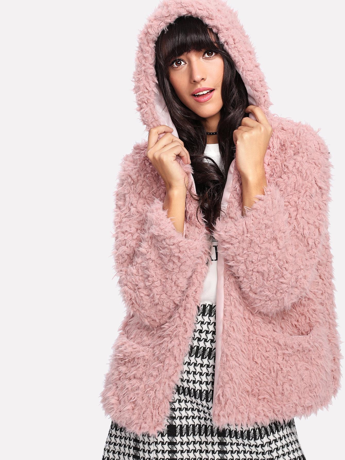 Купить Открытой передней тедди пальто с капюшоном из искусственного меха, Camila, SheIn