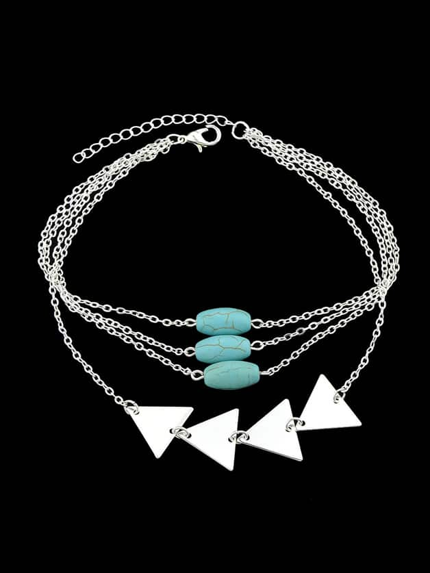 Silver Multi Layers Bangles Chain With Blue Beads Triangle Shape Arm Bracelets silver multi layers chain with leaf shape charm bracelets