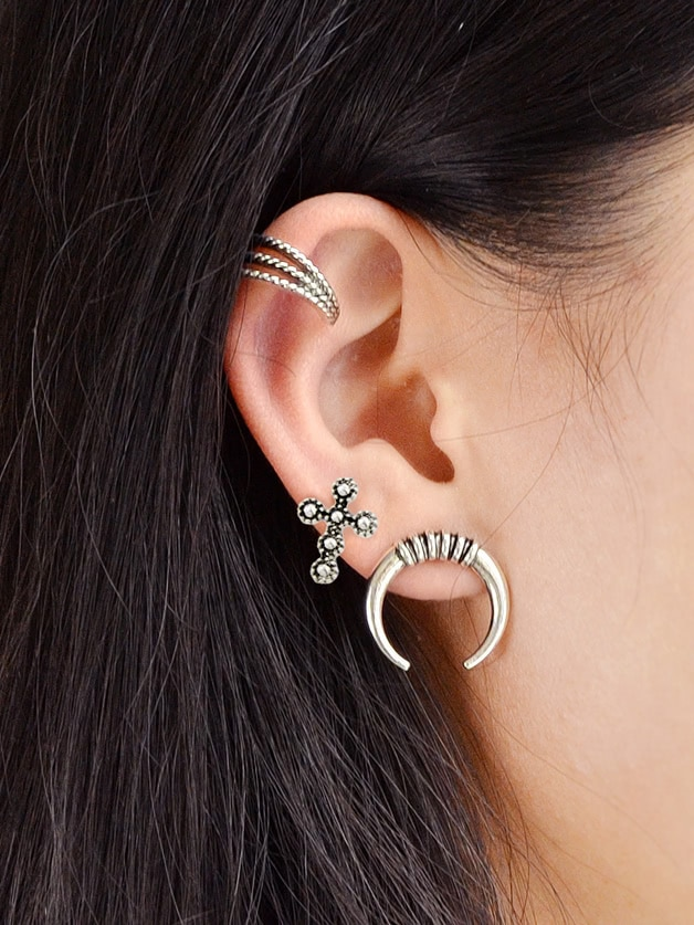Image of 3Pcs/Set Boho Chic Antique Silver Color Ear Cuff Cartilage Clip Stud Earrings