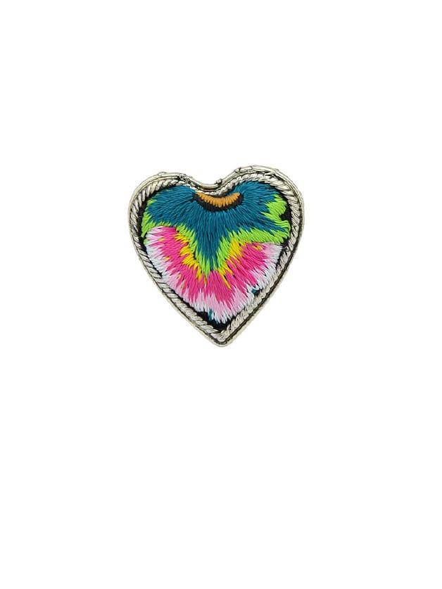 Red Handmade Embroidery Flower Pattern Heart Finger Rings