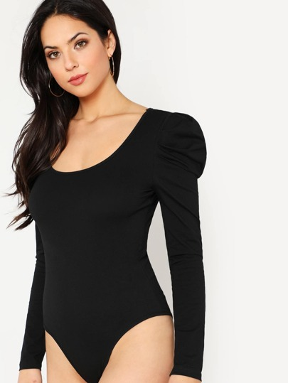 Scoop Neck Puff Sleeve Solid Bodysuit