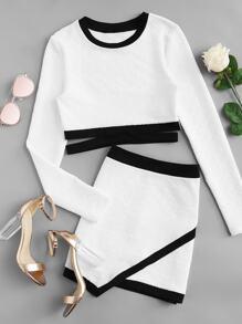 Contrast Binding Top And Asymmetrical Skirt Set