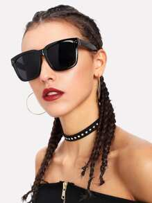 Oversized Flat Lens Sunglasses