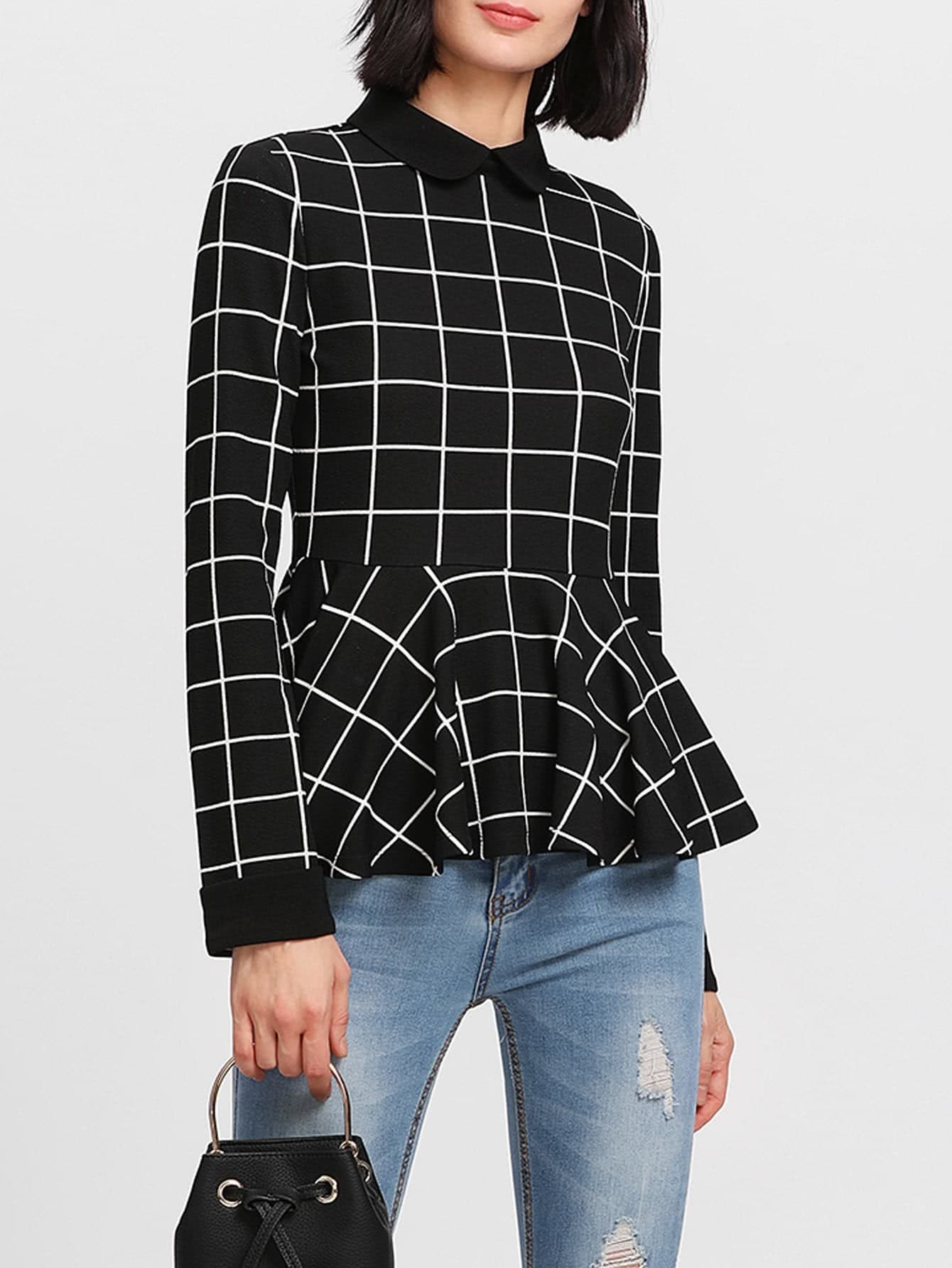 Contrast Collar Grid Peplum Top contrast collar grid peplum top