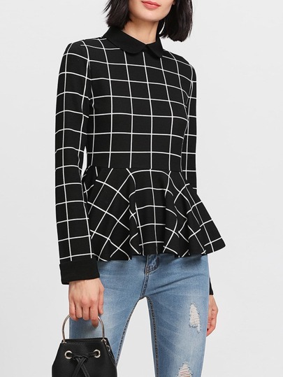 Contrast Collar Grid Peplum Top
