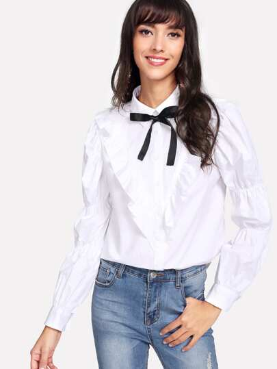 Bow Tie Neck Elasticized Puffed Sleeve Blouse