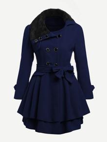 Contrast Faux Fur Collar Double Layered Hem Coat