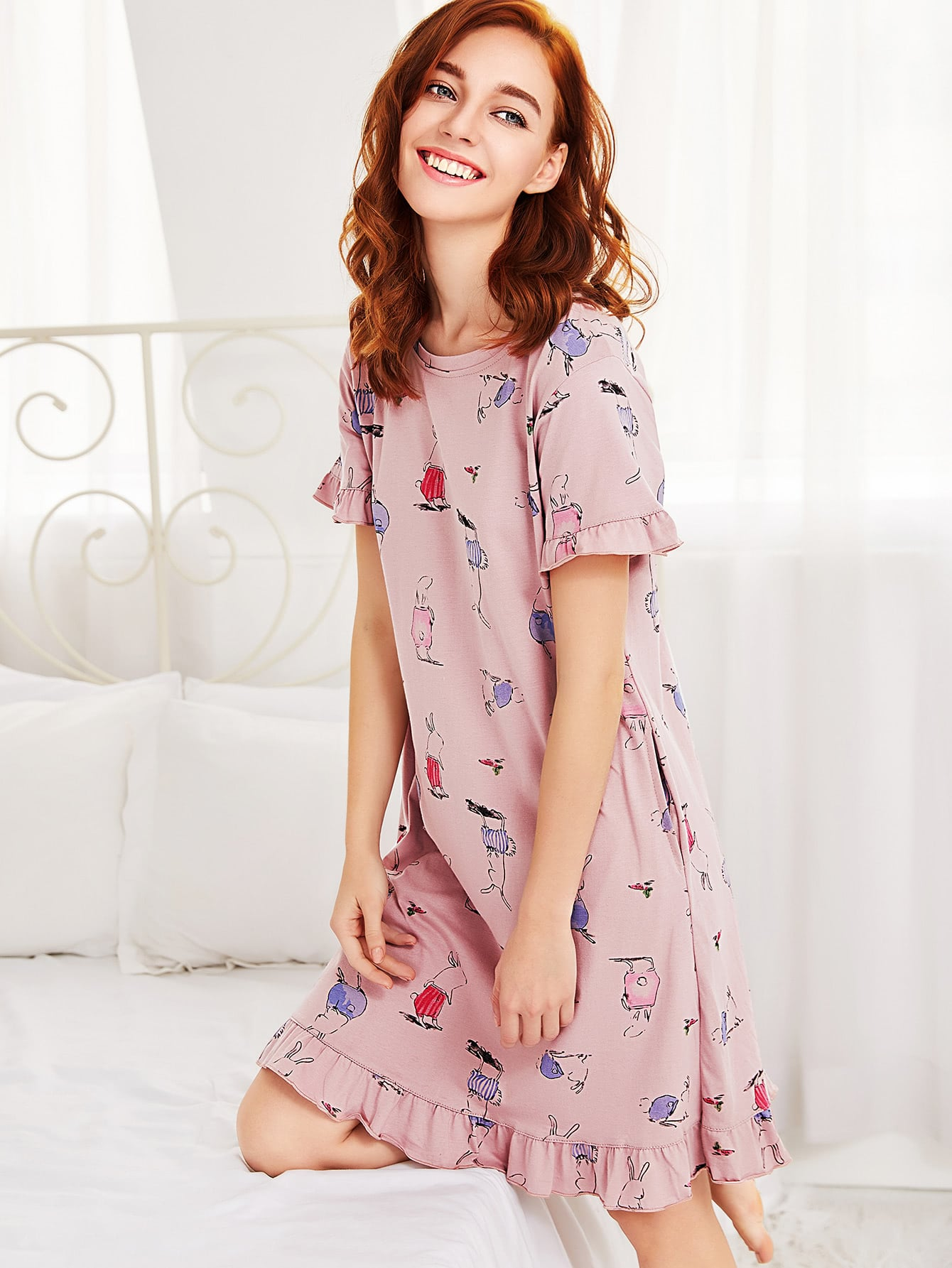 Ruffle Trim Animal Print Sleep Dress