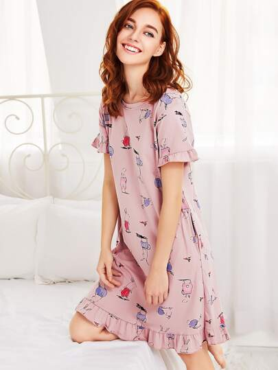 Ruffle Trim Animal Print Sleep Dress