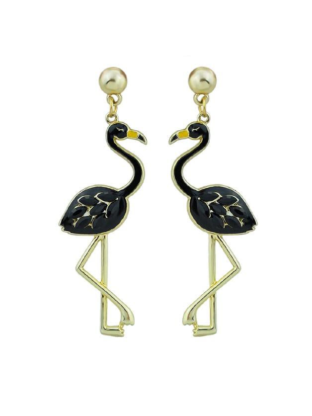 Black Enamel Rhinestone Flamingo Drop Party Earrings For Women enamel geometric drop earrings