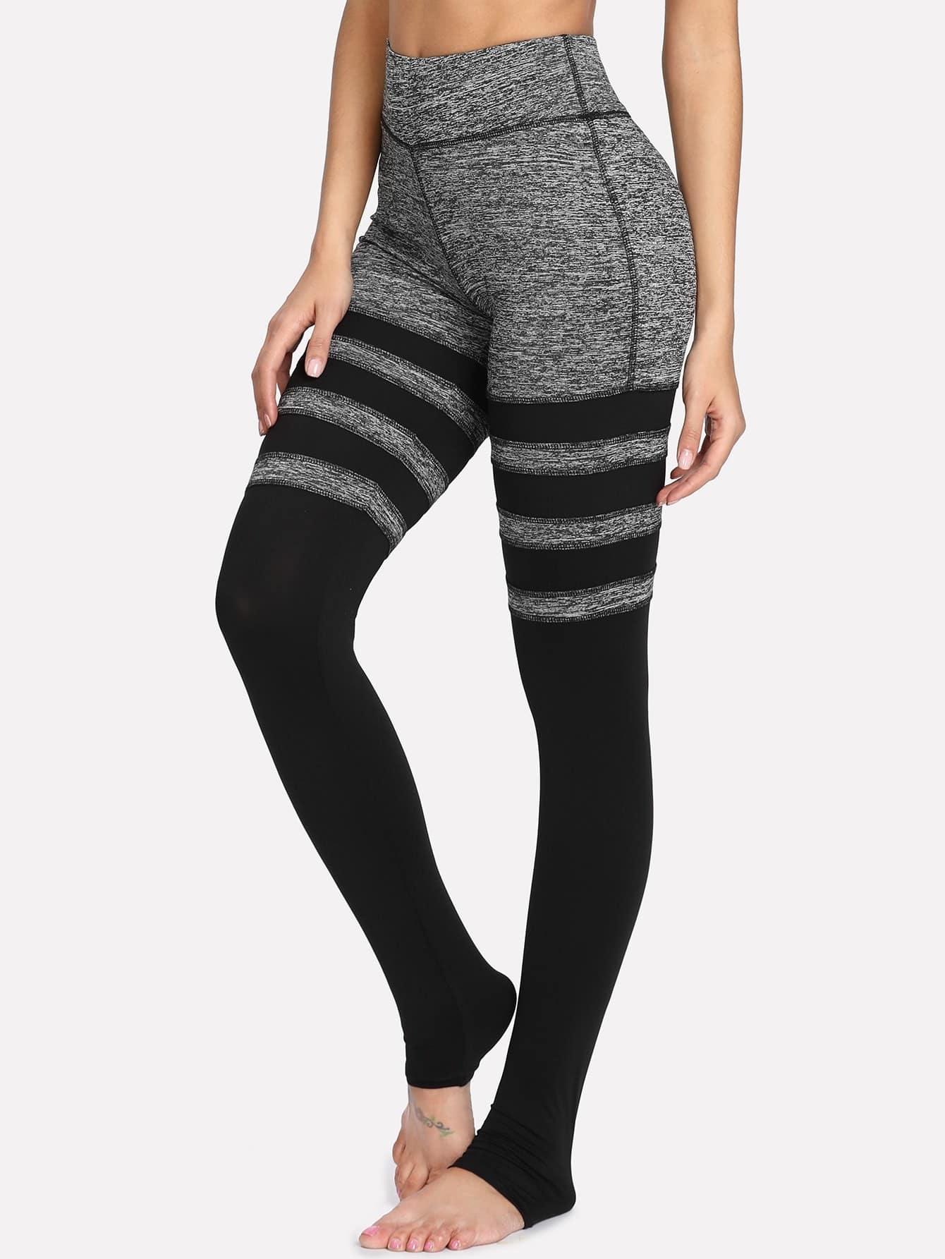 Two Tone Striped Stirrup Leggings two tone drop shoulder sweatshirt