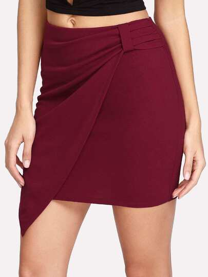 Zip Side Wrap Skirt