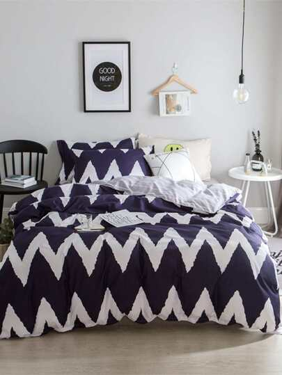 2.2m 4Pcs Chevron Print Bedding Set