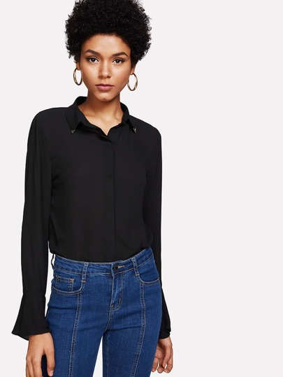 Fluted Sleeve Metal Collar Detail Shirt