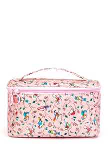 PU Bird Print Makeup Bag