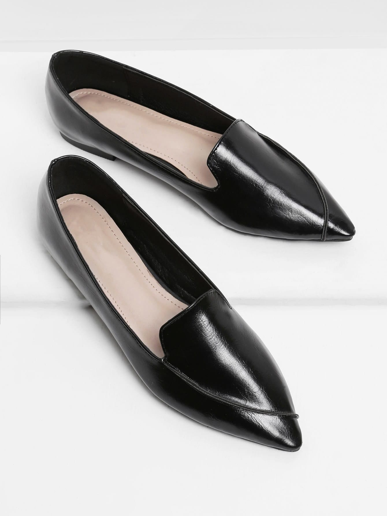 Image of Pointed Toe Faux Leather Flats