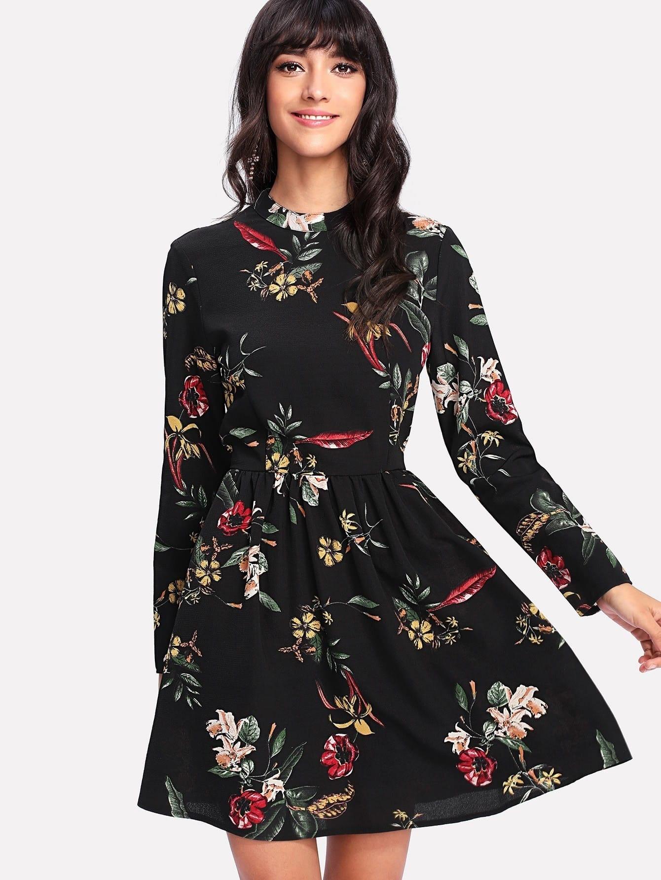 Mock Neck Botanical Dress diamond tailored mock neck long dress