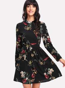 Mock Neck Botanical Dress