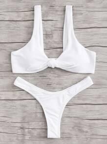 Ruched Detail Knot Bikini Set