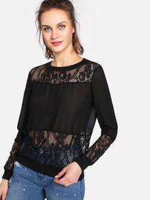 Floral Lace Insert Sheer Sweatshirt