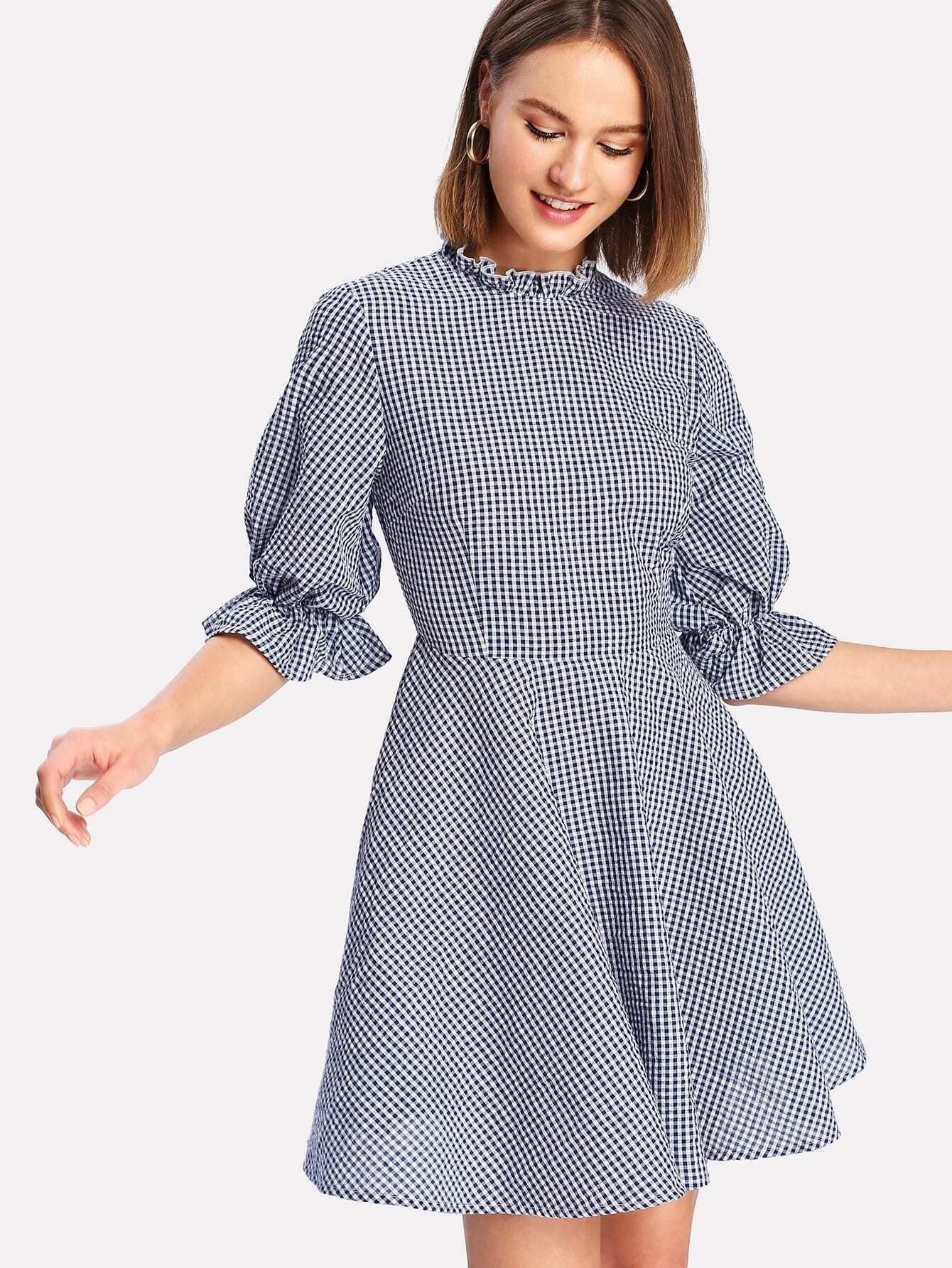 Ruffle Neck And Cuff Gingham Dress open shoulder ruffle cuff gingham blouse