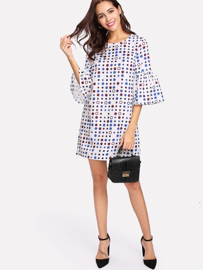 Polka Dot Print Flounce Sleeve Dress