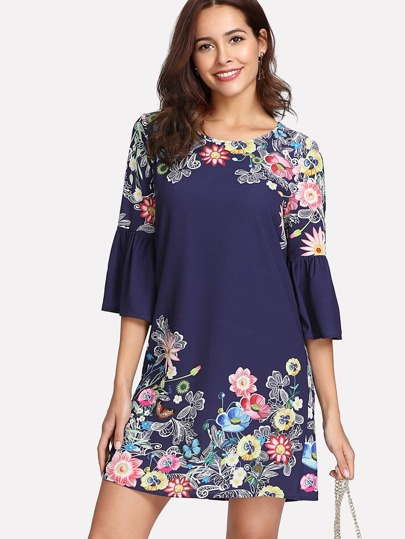 Floral Print Flounce Sleeve Textured Dress