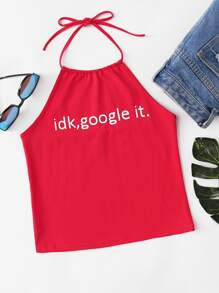 Slogan Print Halterneck Crop Top