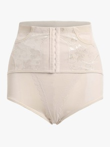 Hook Front Embroidered Shapewear Shorts