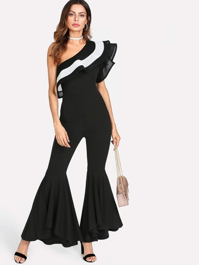 Flounce One Shoulder Flared Hem Jumpsuit