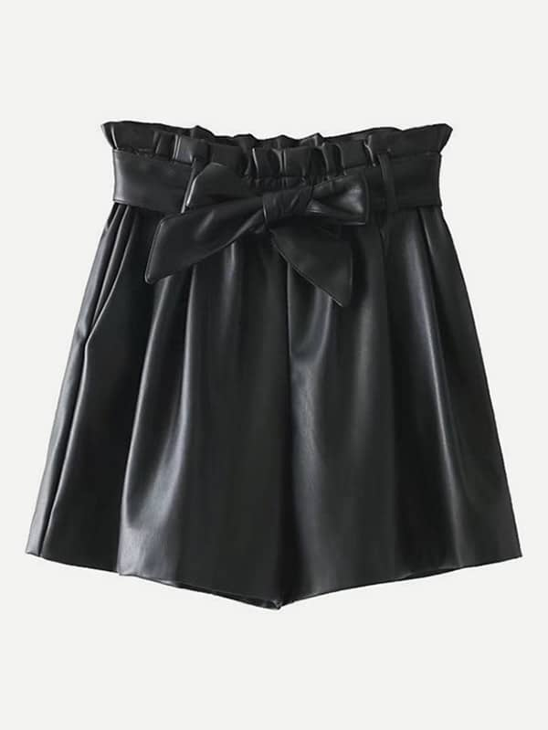 Frill Waist PU Shorts With Belt