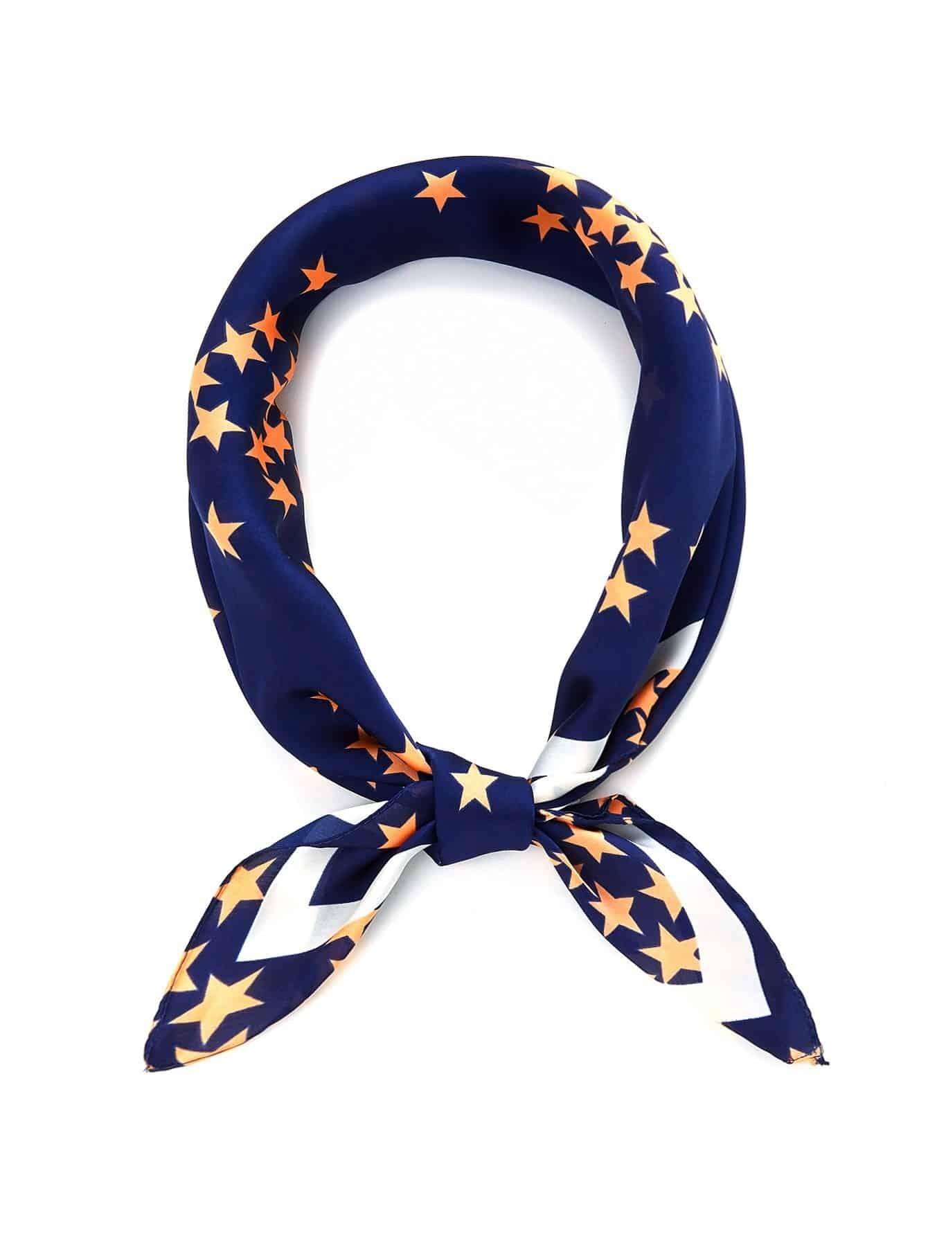 Star Print Bandana Scarf calico print satin bandana